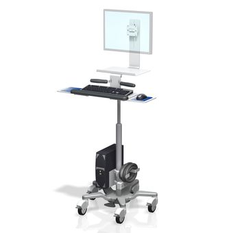 VHRS Variable Height Roll Stand Monitor and Keyboard with Work Surface