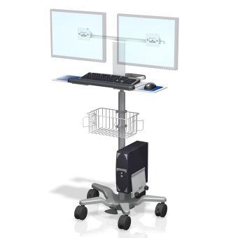Estación de trabajo de doble monitor en carrito médico de altura variable VHRS