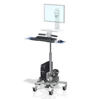 Monitor y teclado en carrito médico de altura variable VHRS con superficie de trabajo.