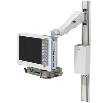 VHM 可变高度臂滑道架上的 Dräger Infinity Delta 监护仪,带前端悬挂臂