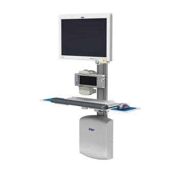 M Series 齐平滑道架上的 Dräger IACS,带监护仪和键盘