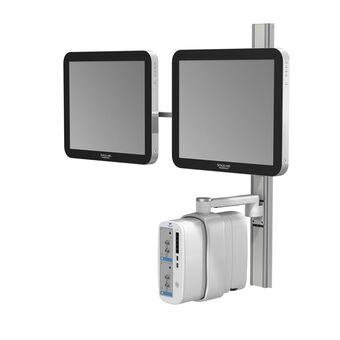 Support de hauteur fixe série M pour Spacelabs XPREZZON – Deux écrans plats et moniteur