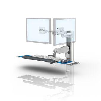 """Poste de travail à deux écrans pour plan de travail à bras articulés série M de 20,3 cm x 20,3 cm (8"""" x 8"""")"""