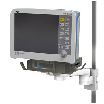 M Series 固定高度臂上的 Dräger Infinity Delta 监护仪,带水平导轨接口