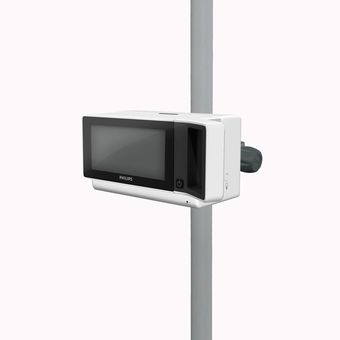 旋转 PRC 立柱/导轨夹上的 Philips IntelliVue X3/MX100