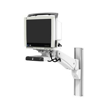 VHM-PL 可变高度臂滑道架上的 GE CARESCAPE 监护仪 B450,带垂直位置锁定