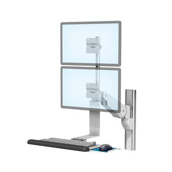 VHM-P Variable Height Arm for Stacked Dual Displays and Keyboard