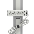 Channel Mount Medical-Grade Power Strip with 4 Hospital-Grade Outlets and 15' Cord (UL 1363A Rating)