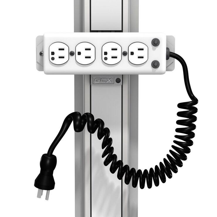 SR-0001-07 - 带 10 英尺弹簧线的 4 插座医用级电源板(UL 1363A 级)的滑道架