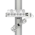 Channel Mount Medical-Grade Power Strip with 6 Hospital-Grade Outlets and 15' Cord (UL 1363A Rating)