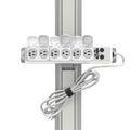 Bloc multiprise de type médical pour montage sur profilé à 6 prises de type hospitalier et cordon de 4,5 m (classé UL 1363A)