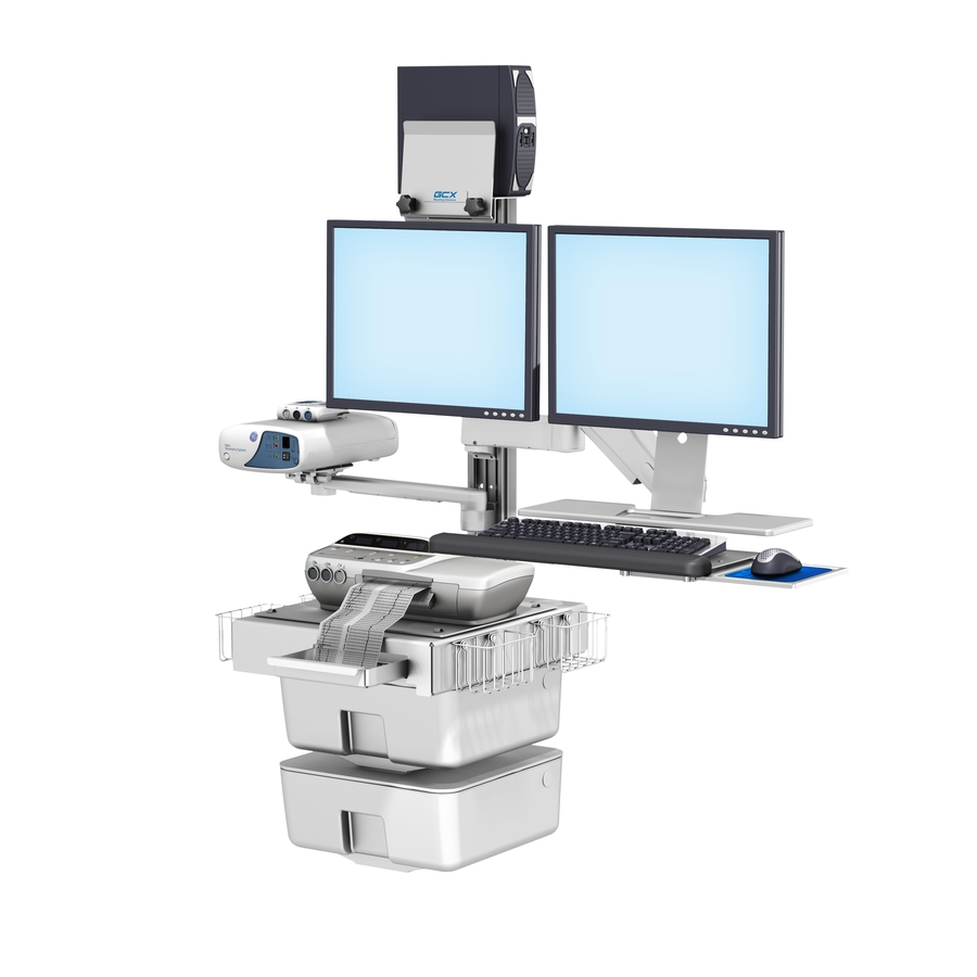 GE Corometrics 170 Fetal Monitoring Dual Monitor Wall Mount Workstation with VHM