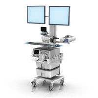 Monica FM fixed Height Roll Cart dual Monitor Mount with Telemetry loaded LG