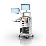 带双 VHM-25 工作站的 GE Healthcare 250 系列胎儿监护滑轮车