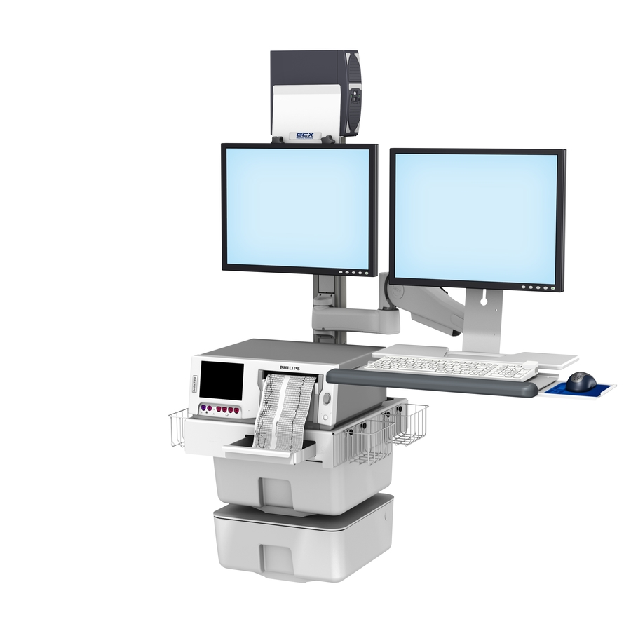 Philips FM40/50 Fetal Monitoring Dual Monitor Wall Mount Workstation with VHM