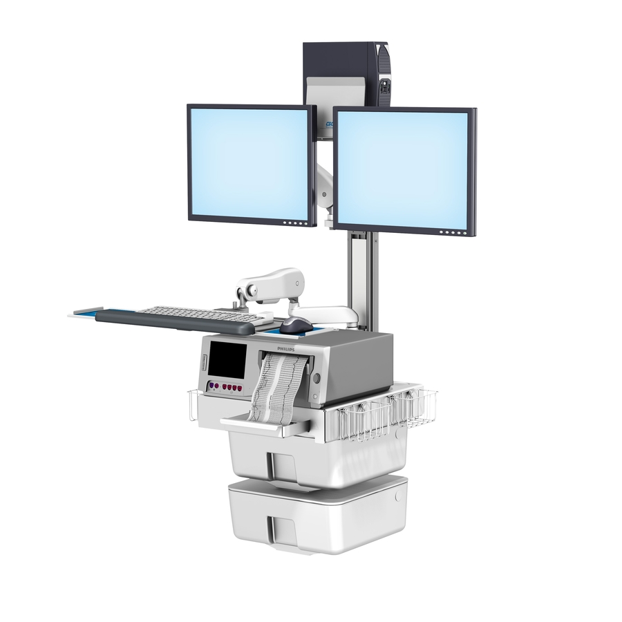 Philips FM40/50 Fetal Monitoring Dual Monitor Wall Mount Workstation with VHM-25 Keyboard